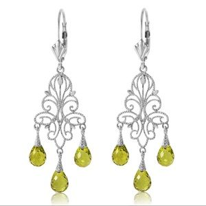 🥝14K GOLD CHANDELIERS EARRING NATURAL PERIDOTS
